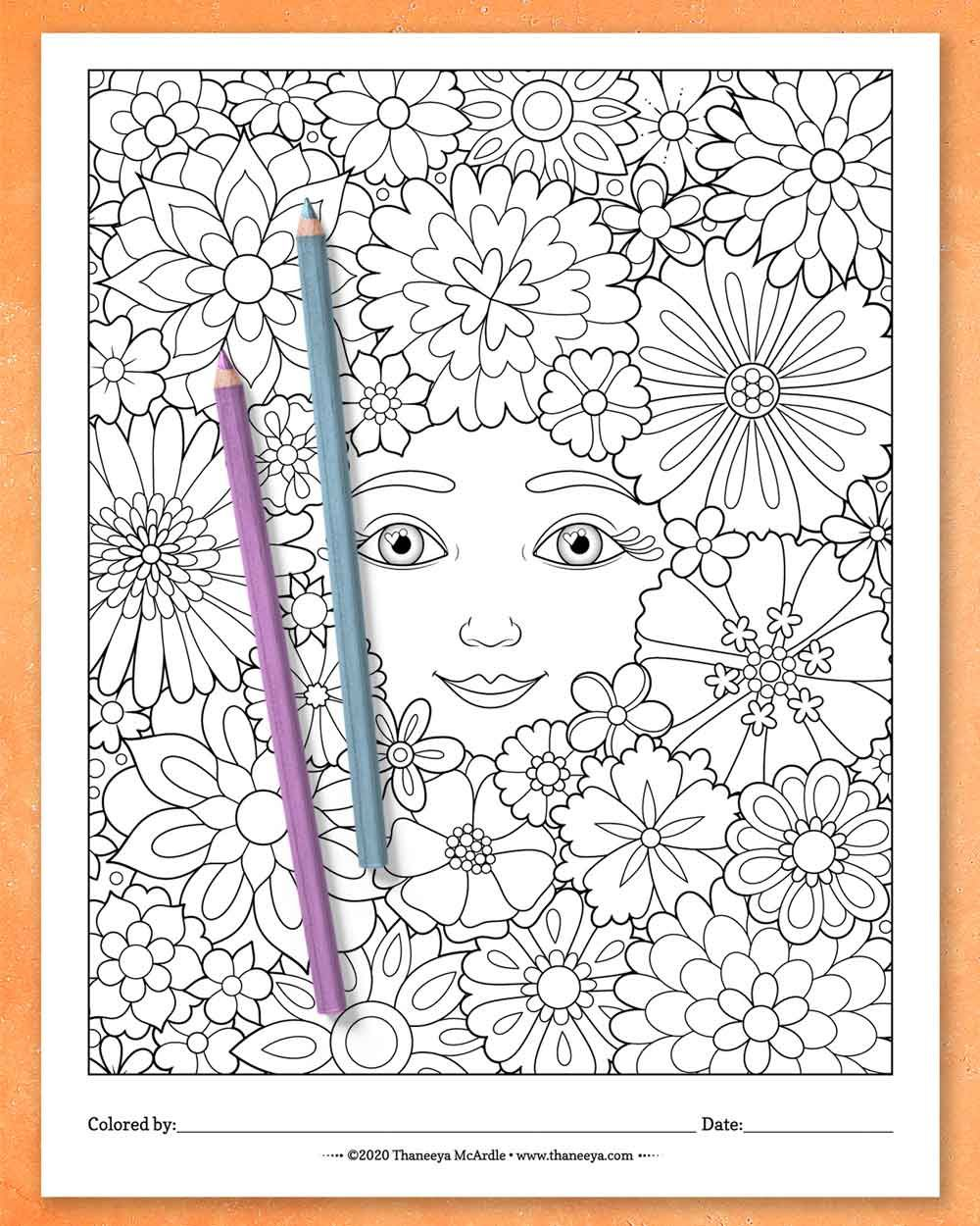 Enchanted Faces Coloring Pages Printable Female Coloring Pages For Adults Teens And Kids Art Is Fun Coloring Pages Abstract Coloring Pages Detailed Coloring Pages