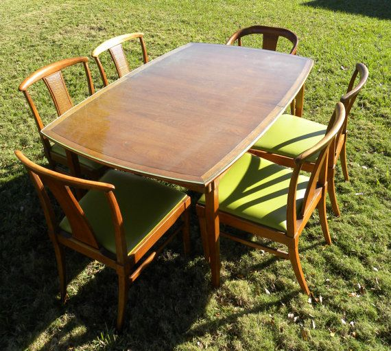 Drexel Mid Century Modern Dining Table With Glass Top Mid
