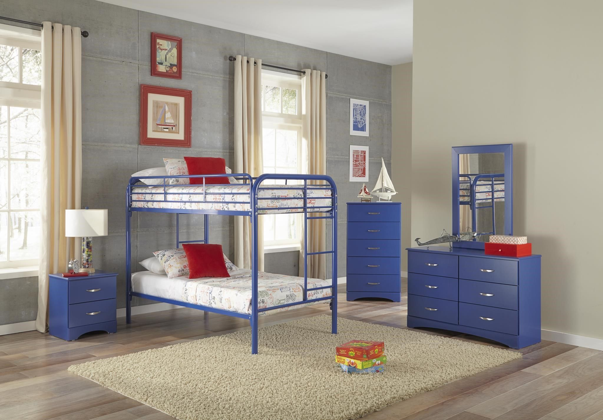 Bunkbeds Blue TwinOverTwin Bunkbed by Kith Furniture at