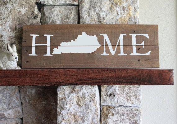 Kentucky Home Reclaimed Wood Sign Kentucky Wall Art Kentucky Map