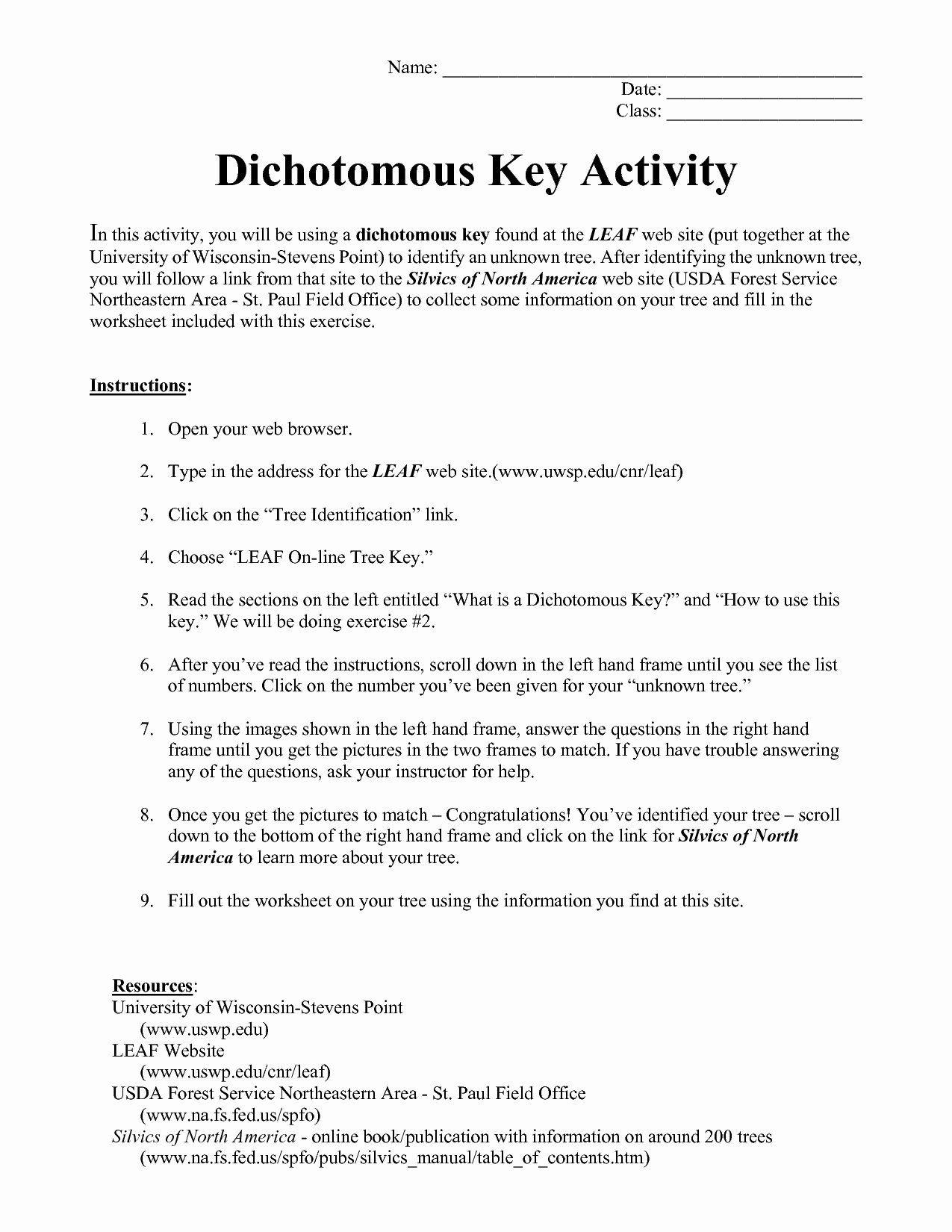 Dichotomous Key Worksheet Beautiful Dichotomous Key