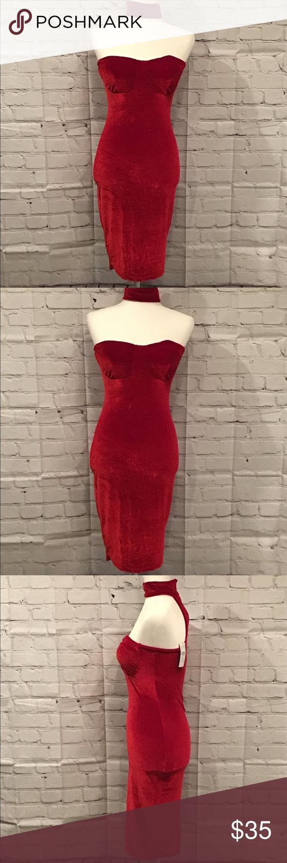 Photo of Fashion Nova Velvet Choker Strapless Dress  NWT Fashion Nova Velvet Choker Strap…