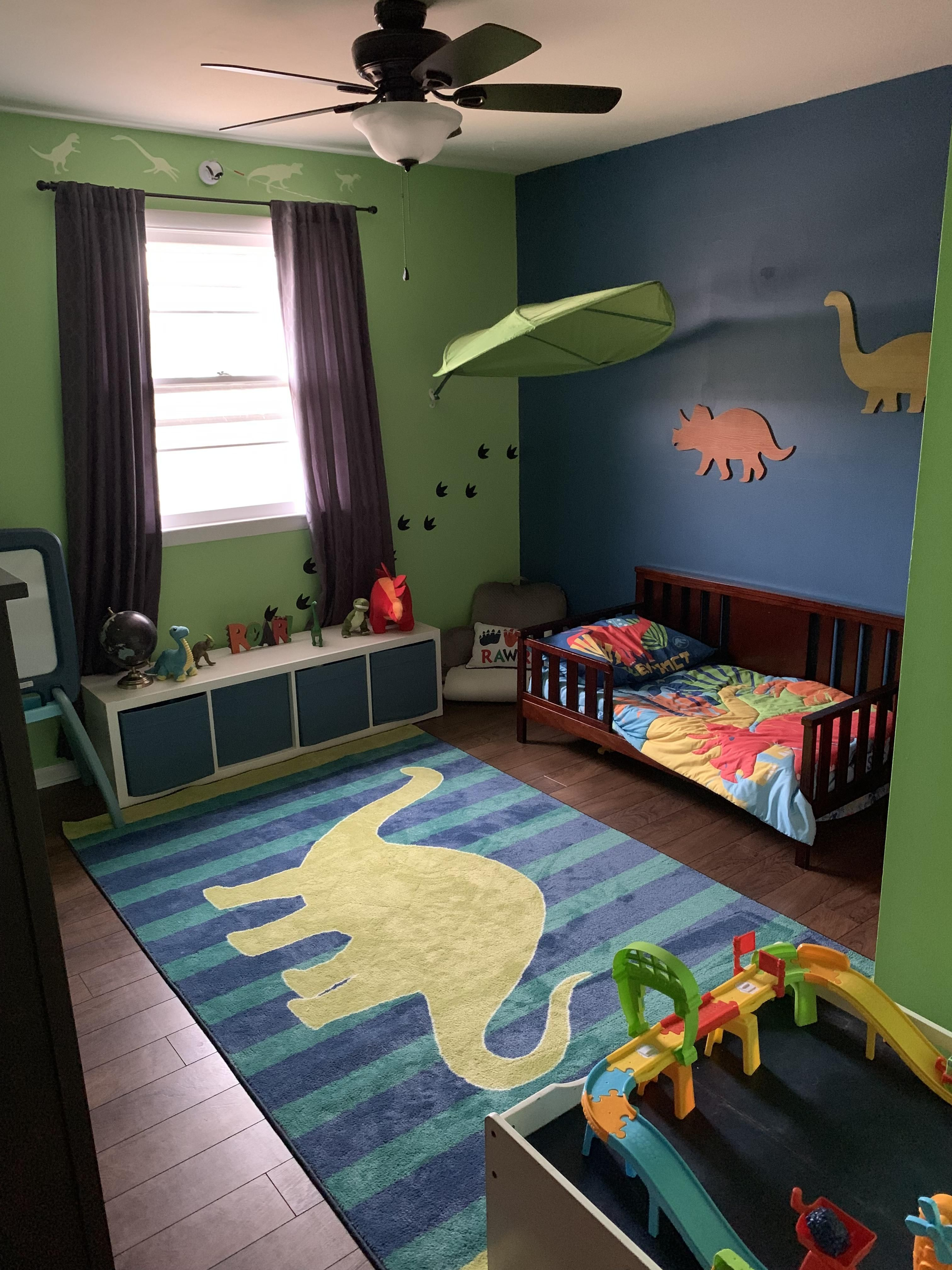 Its Not A Pirate Ship Bed Or A Castle But Pretty Proud Of How Our 2 Year Olds Dino Room Turned Out! #dadd… | Toddler Boy Room Themes, Boy Room Themes, Toddler Rooms