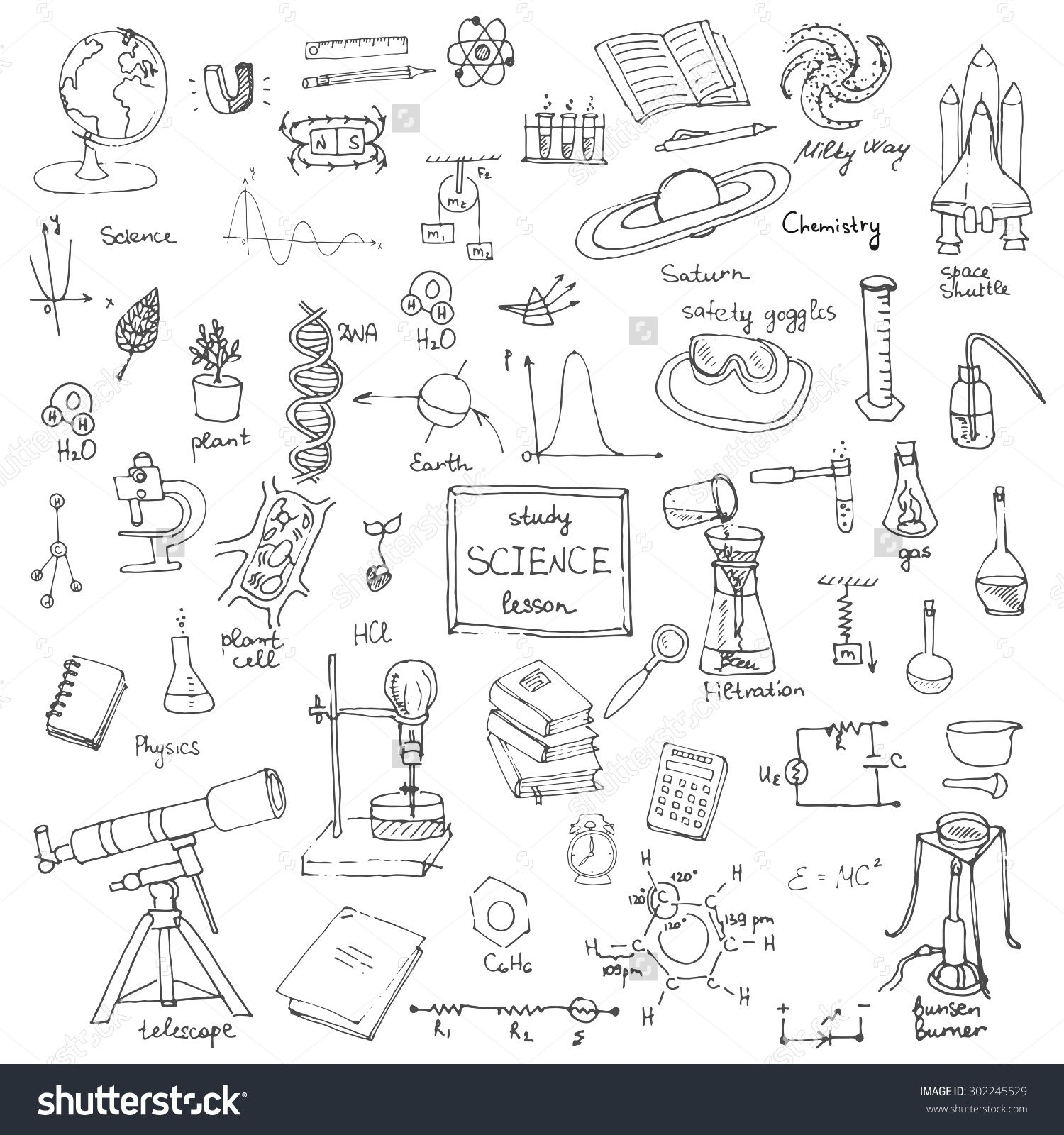 Science Physics From: Freehand Drawing School Items, Back To School Science