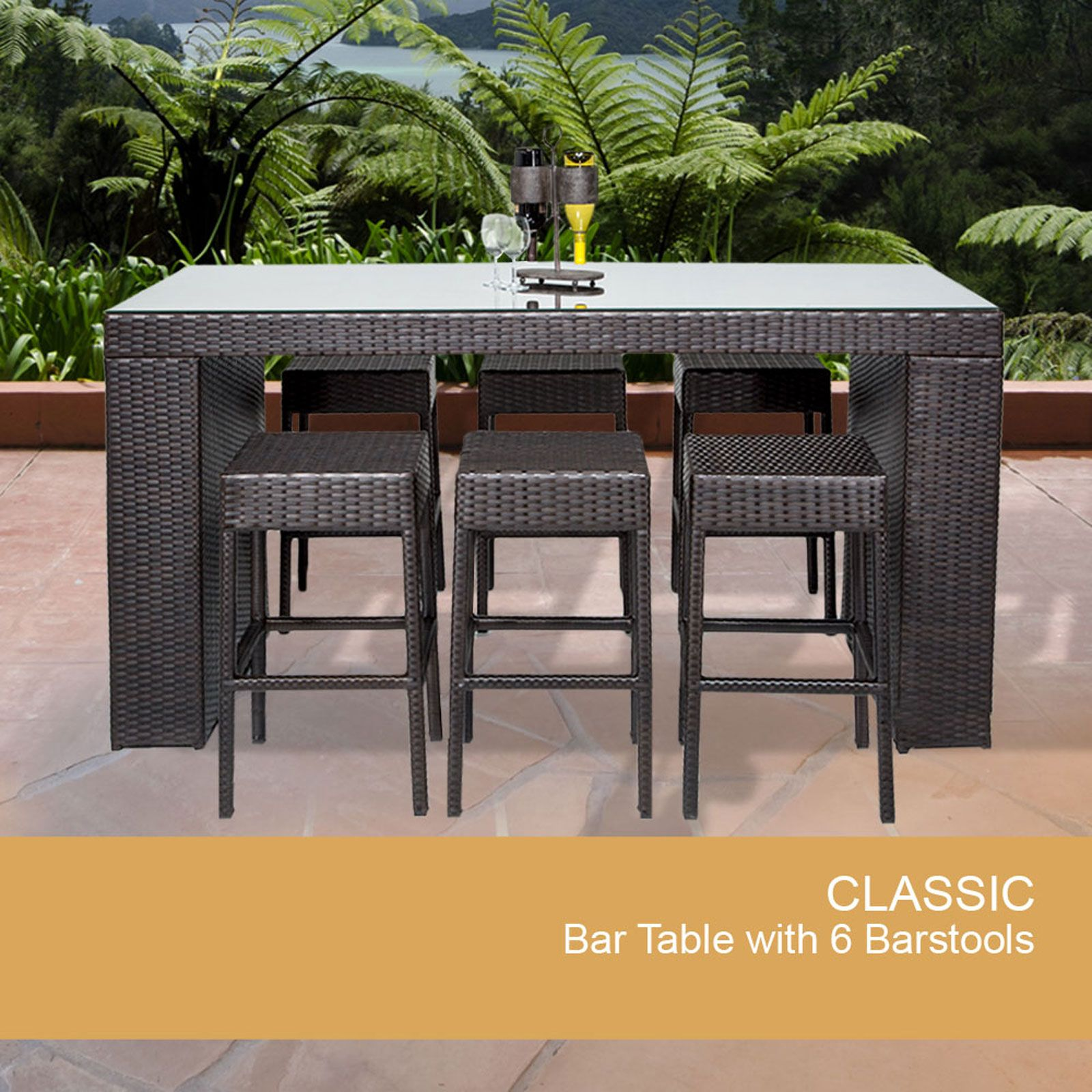 Bar Table Set With Backless Barstools 7 Piece Outdoor Wicker Patio Furniture    Design Furnishings
