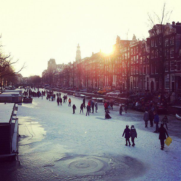 the frozen canals in Amsterdam...