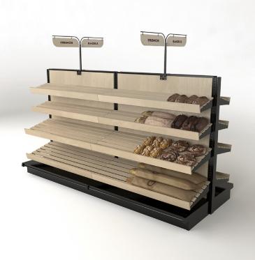 Wooden Slats Bread Display 2 Sided Gondola Shelf Kit 54h X 8ft Bread Display Shelves Wooden Slats