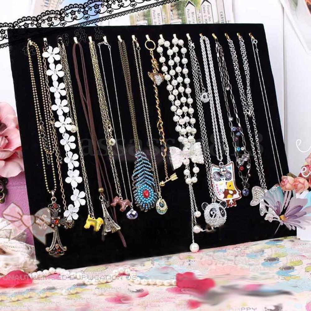 Necklace Chain Bracelet Display Holder Stand Velvet Board Jewelry Shelf Rack