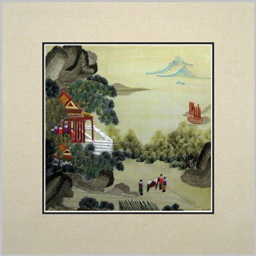 Feng Shui Village king silk art 100% handmade embroidery feng shui village mountain