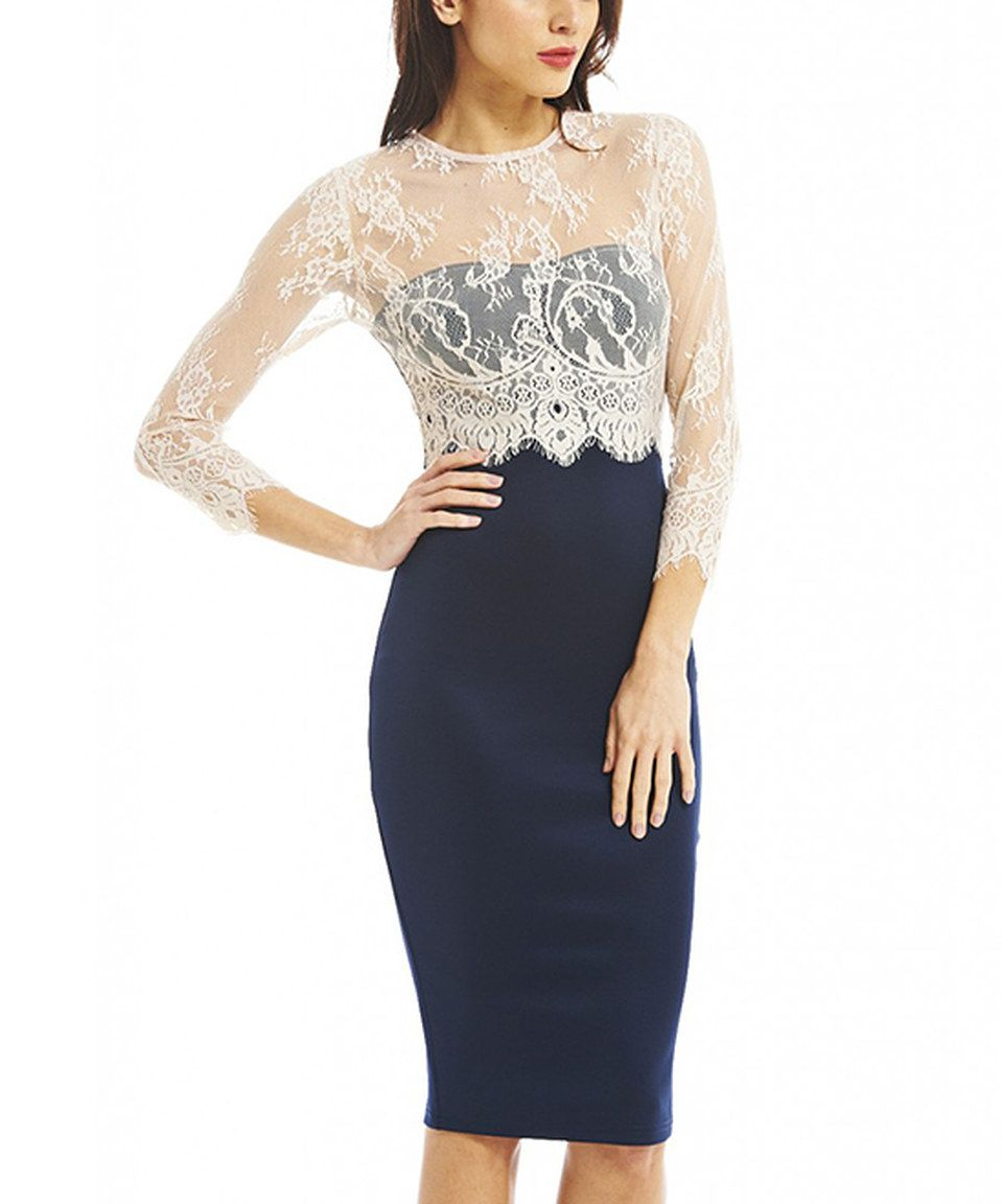 Another Great Find On Zulily Ax Paris Navy Cream Lace Midi Dress By Ax Paris Zulilyfinds Lace Top Dress Lace Bodycon Dress Elegant Cocktail Dress [ jpg ]