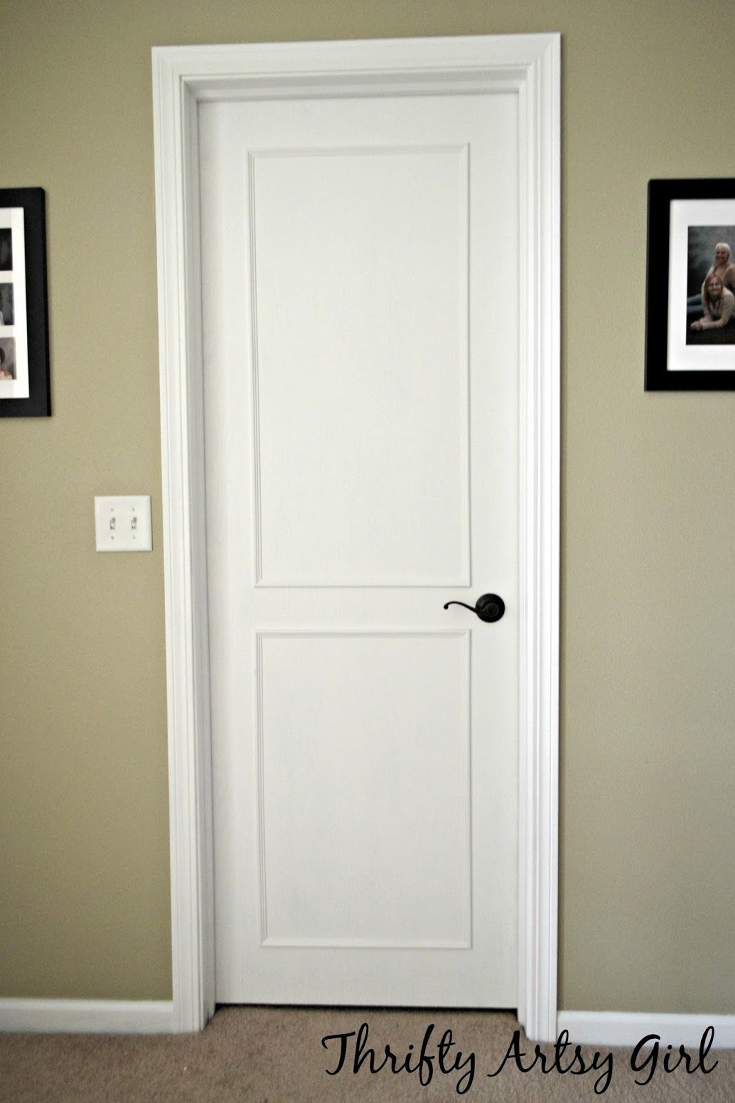 From Hollow Core Bore to a Beautiful Updated Door: DIY Slab Door Makeover using Trim and Paint ~ Thrifty Artsy Girl
