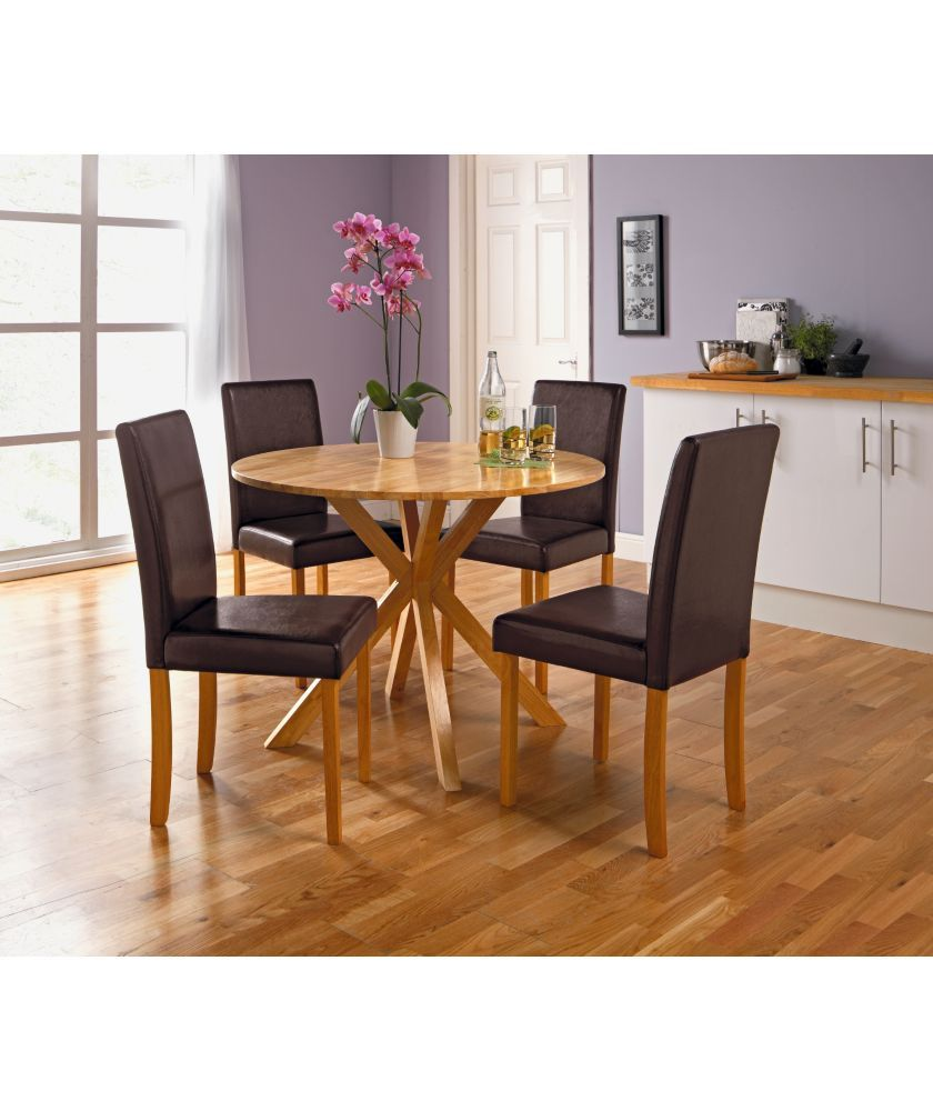 Buy Montego Round Dining Table and 4 Midback Chocolate Chairs at