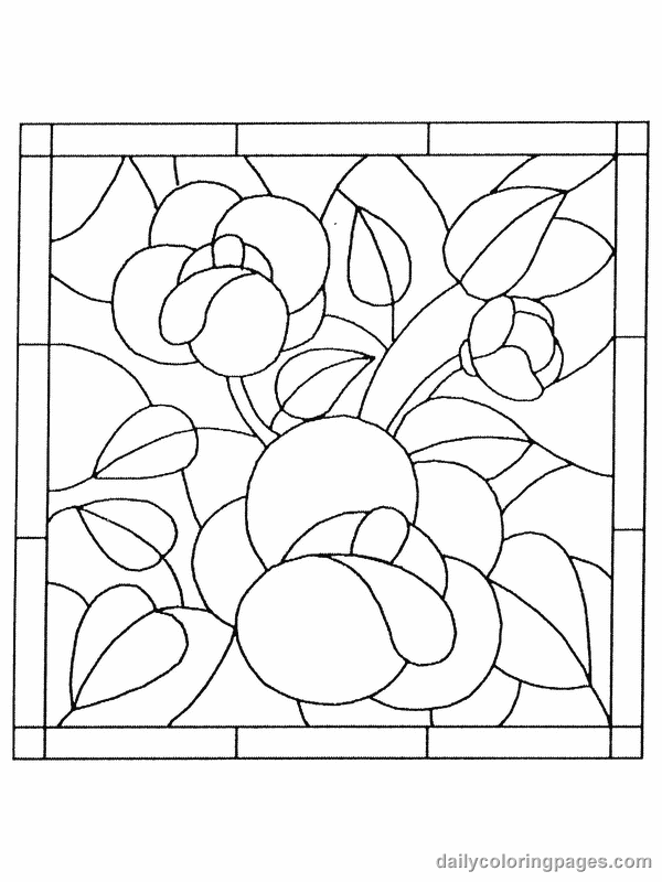 stained glass flower coloring pages print in mini and trace onto vellum for dollhouse windows
