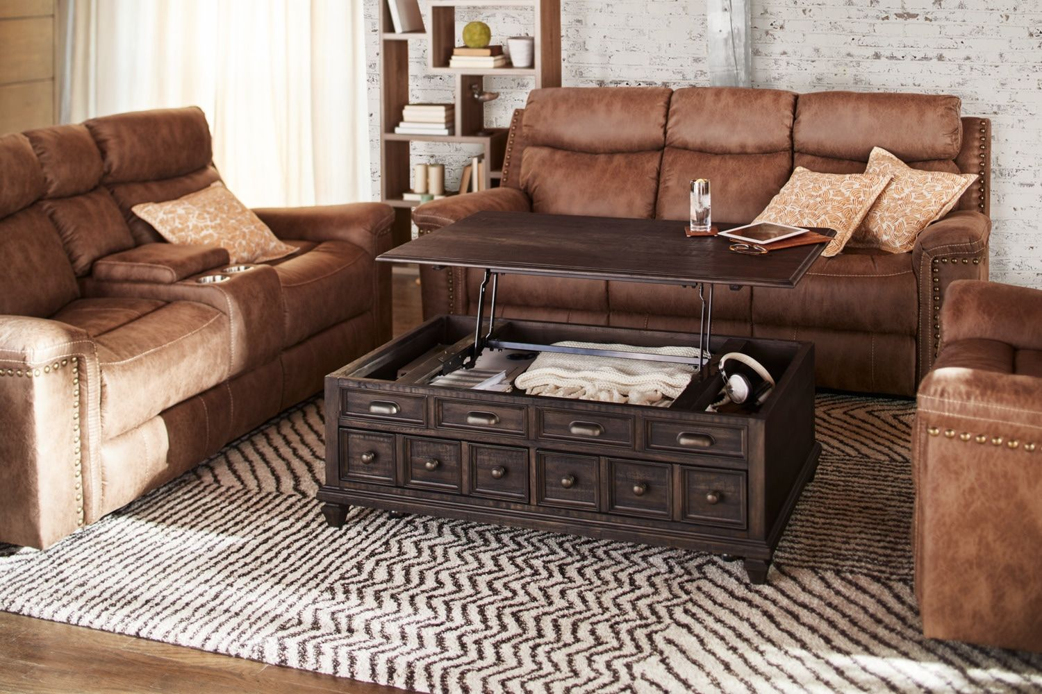 Roxboro Lift Top Coffee Table Bark American Signature Furniture Sectional Coffee Table Storage Ottoman Coffee Table Sofa End Tables [ 1000 x 1500 Pixel ]