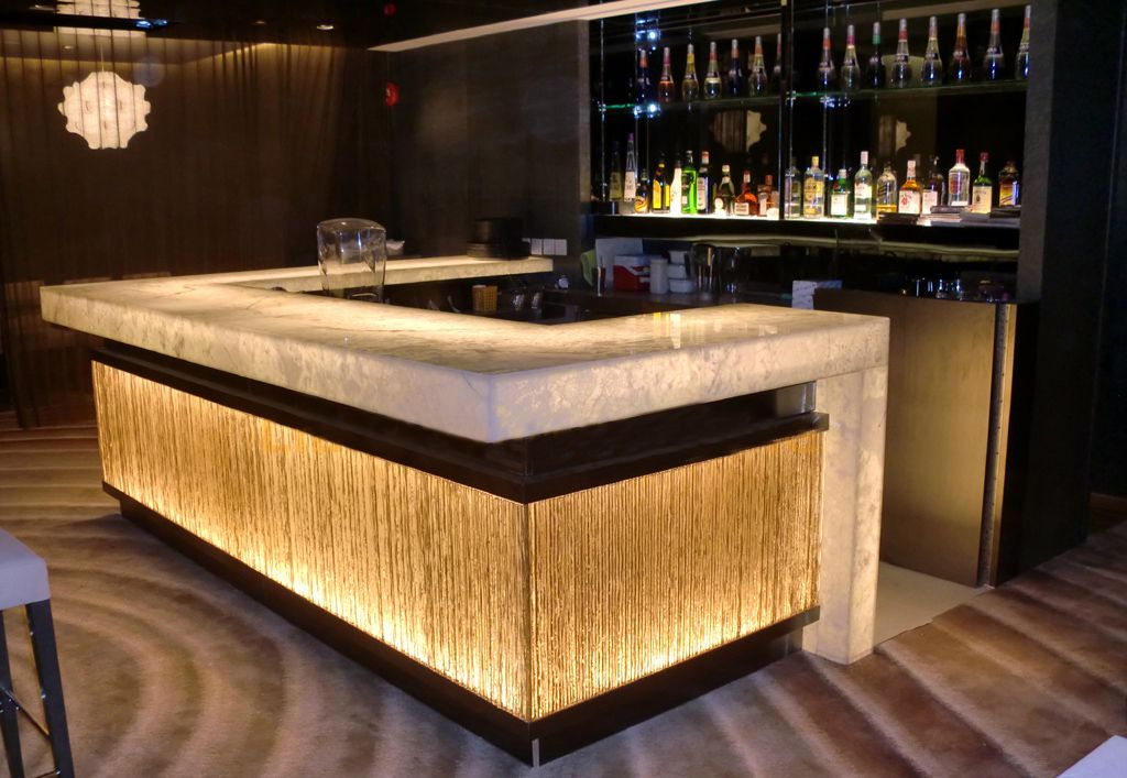 Transparent Stone Flower Pattern Glass Pub Bar Counter Bar