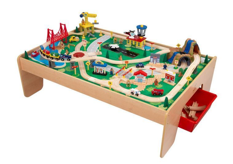 Train Table Set Wooden Toy Play Storage Blocks Model Kidcraft ...