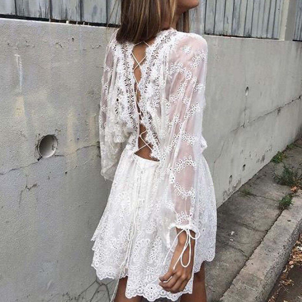 Stunning Lace Details Adorn This Gorgeous Dress A Lace Up Back Pairs With Intricate Lace Eyel Lace Dress With Sleeves Lace Playsuit Bohemian Embroidered Dress [ 1024 x 1024 Pixel ]