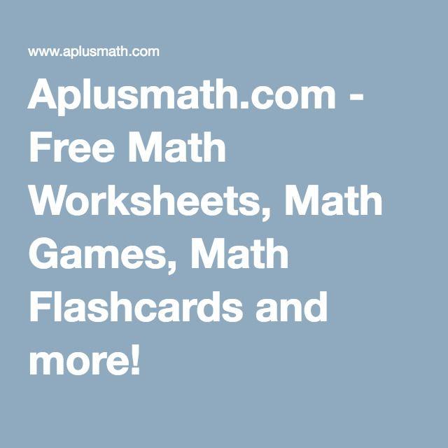 Aplusmath.com - Free Math Worksheets, Math Games, Math Flashcards ...