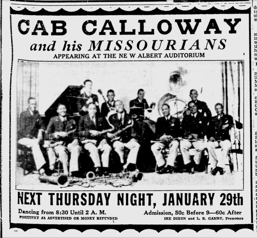 the hi de ho blog january 29 1931 cab calloway his missourians at new albert auditorium. Black Bedroom Furniture Sets. Home Design Ideas