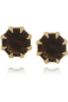 Katie Rowland Ishtar Athani gold-plated quartz earrings