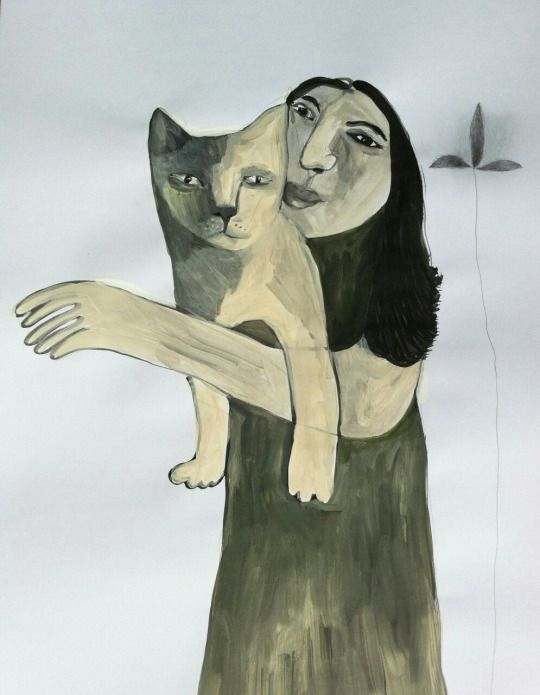 girl with cat.  Artist on Tumbir