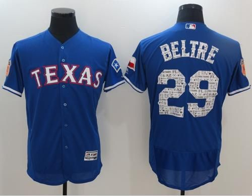 Rangers #29 Adrian Beltre Blue 2017 Spring Training Authentic Flex Base Stitched MLB Jersey