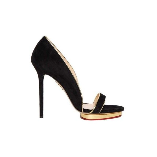 Charlotte Olympia 'Cristine' Suede Sandals ($623) ❤ liked on Polyvore featuring shoes, sandals, black, suede shoes, black suede sandals, open toe platform sandals, black shoes and stiletto sandals
