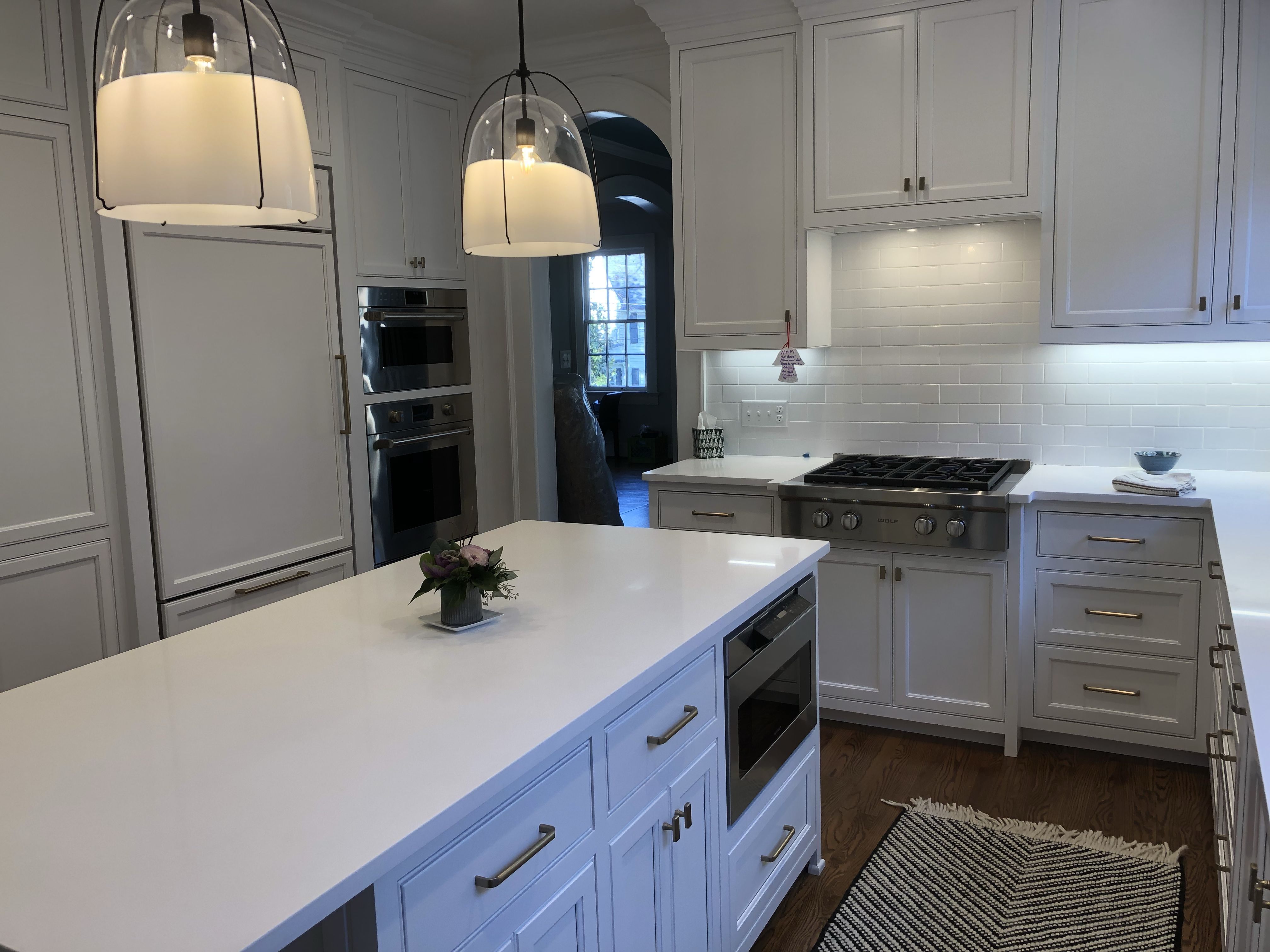 Finished Kitchen Chantilly Lace White Cabinets With Inset Shaker Style Doors And Drawer Fronts Shaker Style Doors Kitchen New Kitchen