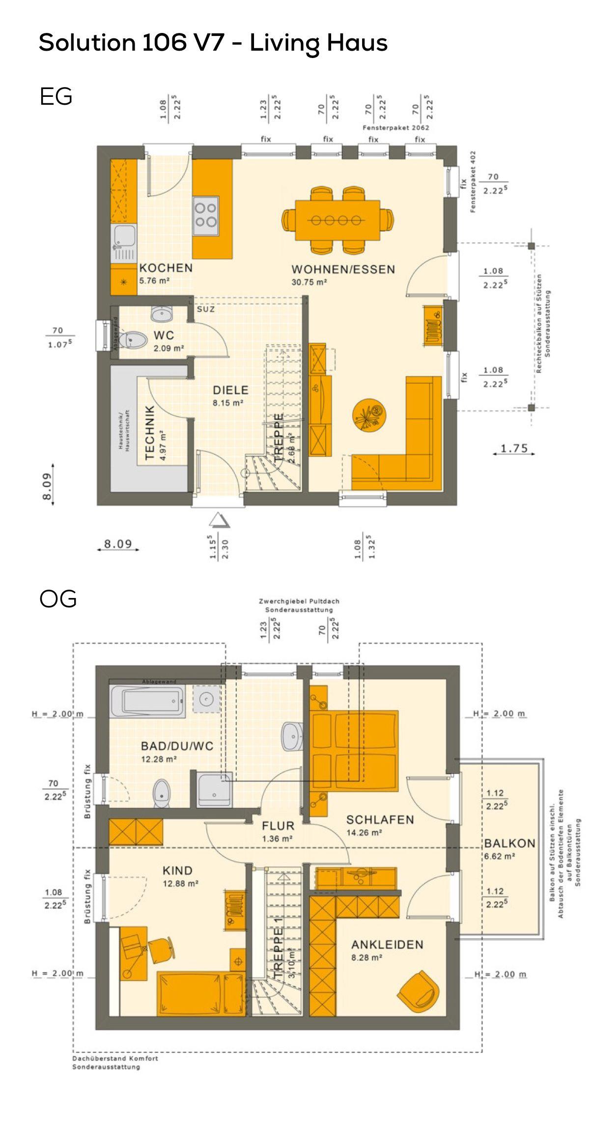 Wunderbar Grundriss Einfamilienhaus Modern Mit Satteldach Architektur U0026 Zwerchgiebel    3 Zimmer, 106 Qm Wfl.