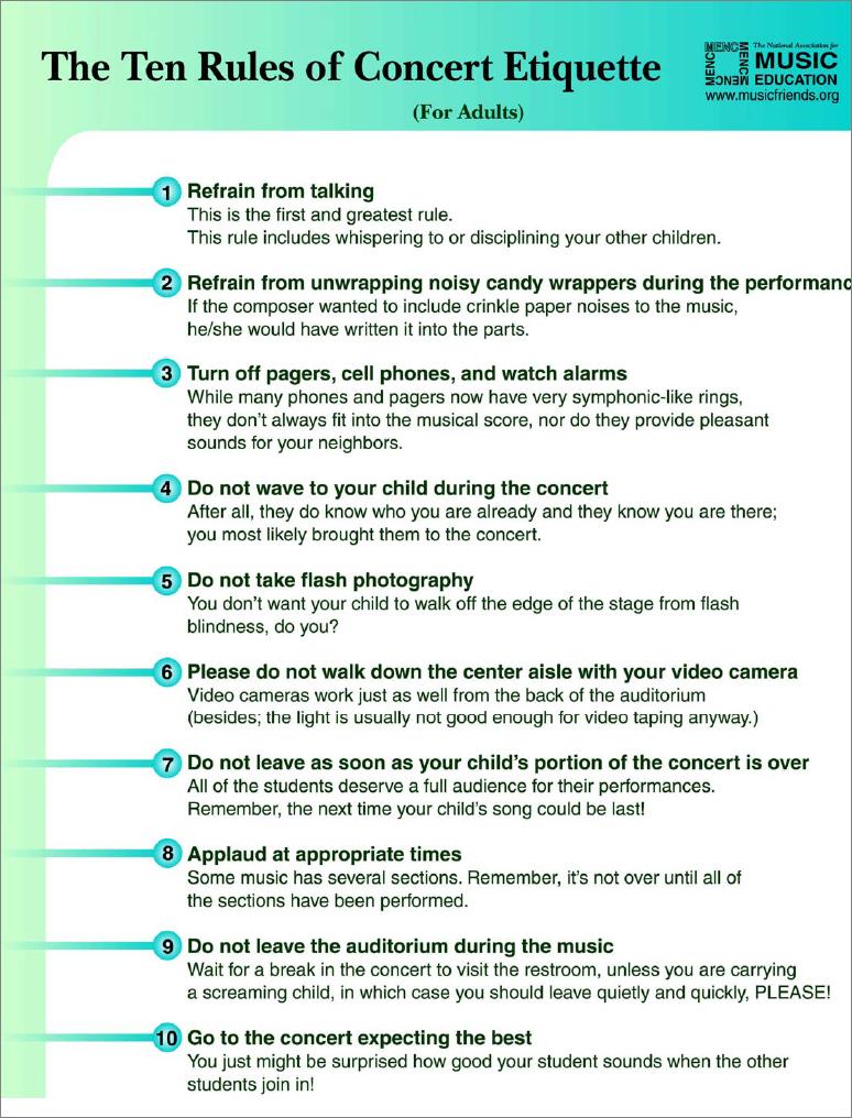 the ten rules of concert etiquette concert planning pinterest etiquette parents and cartoon. Black Bedroom Furniture Sets. Home Design Ideas