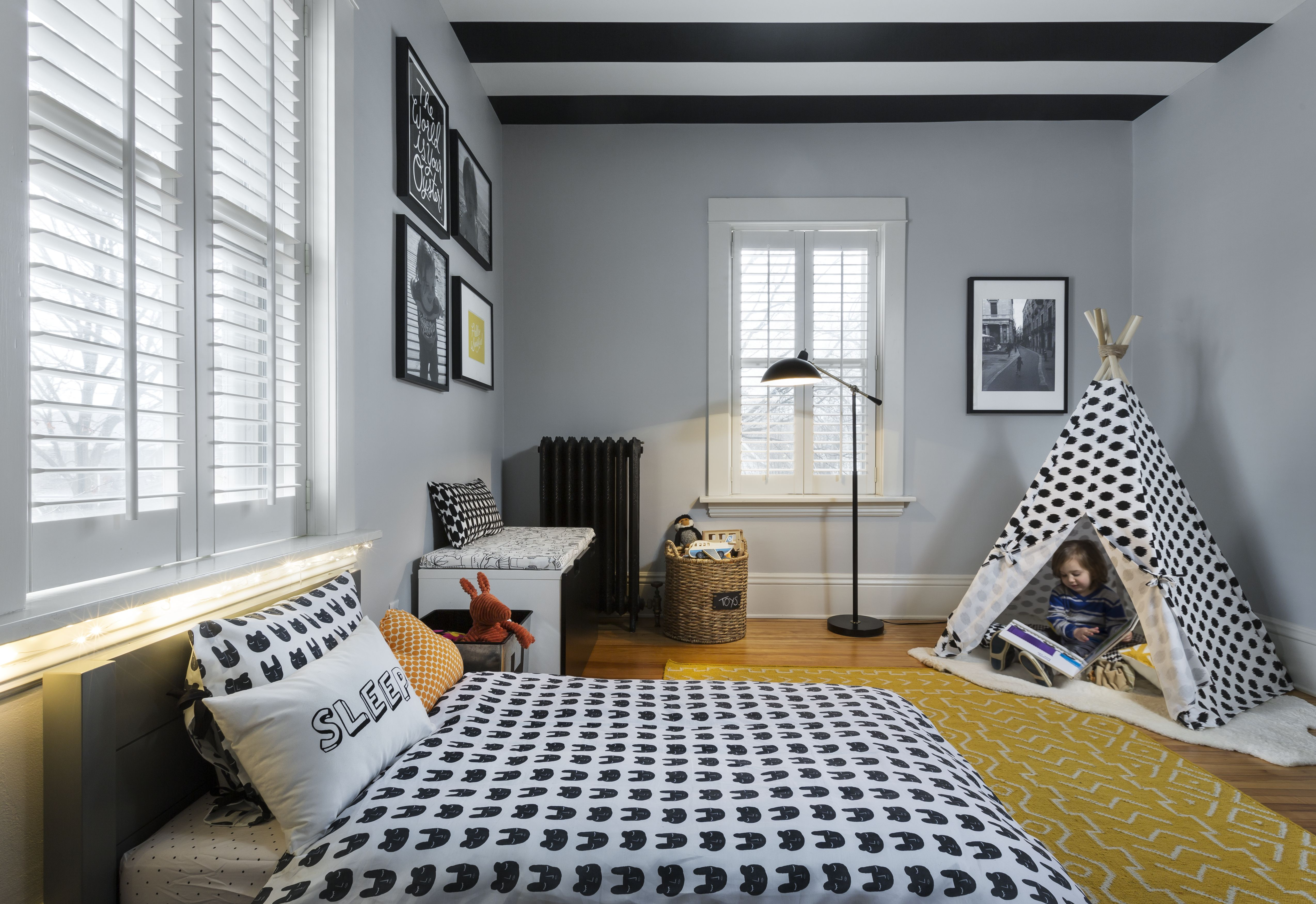Graphic and Modern Toddler Boy Room | Toddler rooms, Boy ...