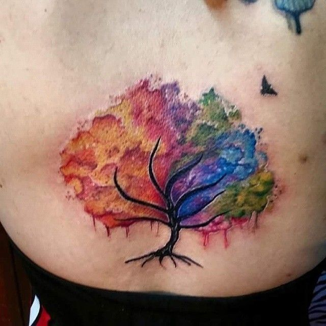 25 Awesome Watercolor Tree Tattoo Ideas Tattoos For Women
