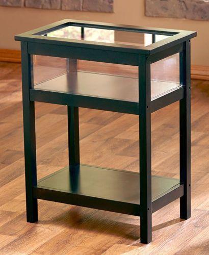 black end table display glass top