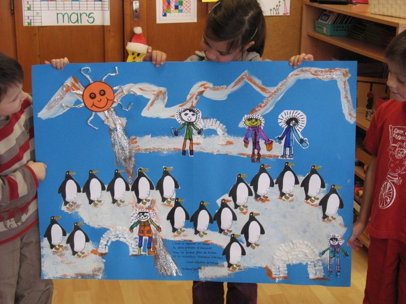 Œuvre collective...les pingouins sur la banquise...