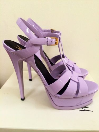 YSL Yves Saint Laurent Tribute 105 Lavender Lilac Purple Patent Sandals 39  9 NIB