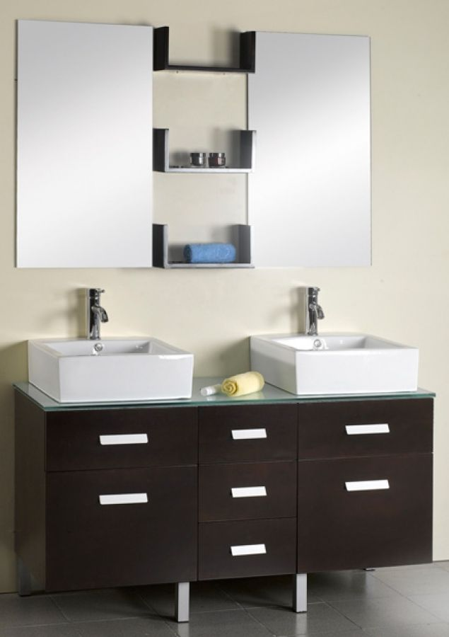 Love This : 56 Inch Modern Double Sink Batroom Vanity Espresso With  Accessories