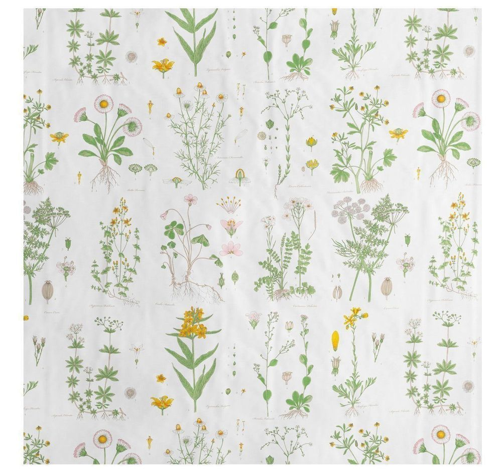 Ikea Strandkrypa Fabric Shower Curtain White Floral 71 X 71 New