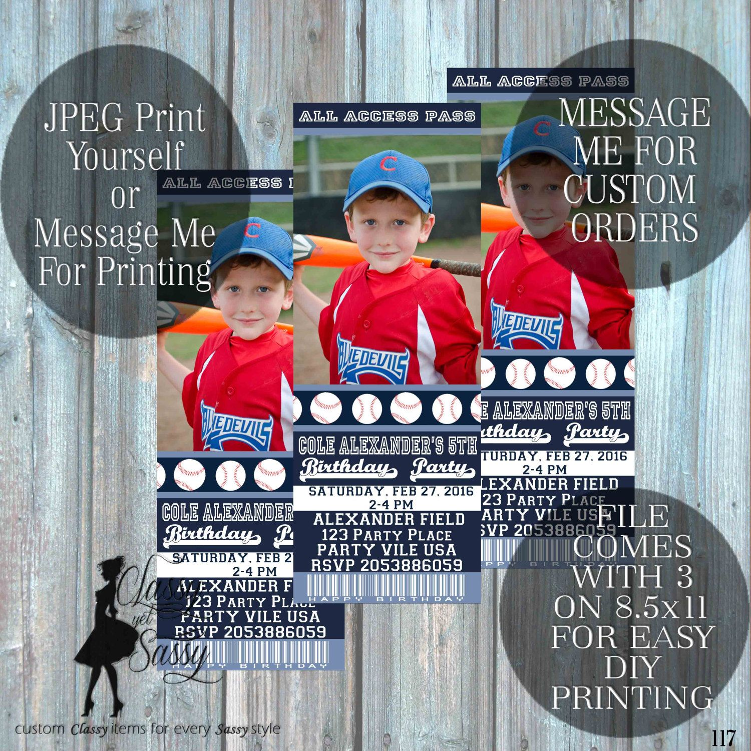 Baseball invitation - baseball birthday invite- baseball ticket ...
