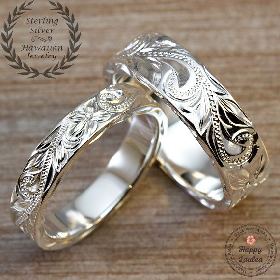 Sterling Silver Wedding Band Set Hand Engraved with Hawaiian