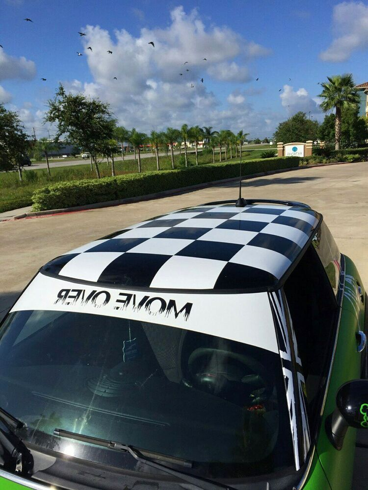 #0289 -20pcs CHECKERED Mini Cooper Roof Decal Sticker Graphic Vinyl RACING #Oracal