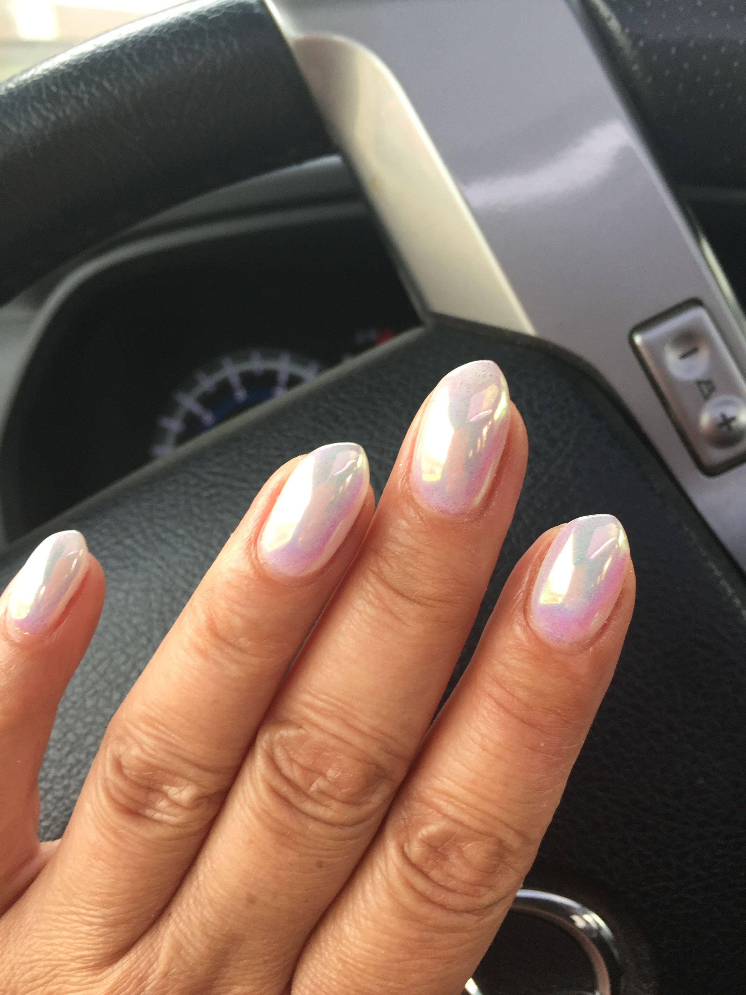 White Chrome Nails White Chrome Nails Gel Chrome Nails Opal Nails