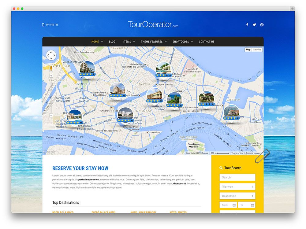 touroperator - travel WordPress theme Jambi project Pinterest - wordpress travel themes