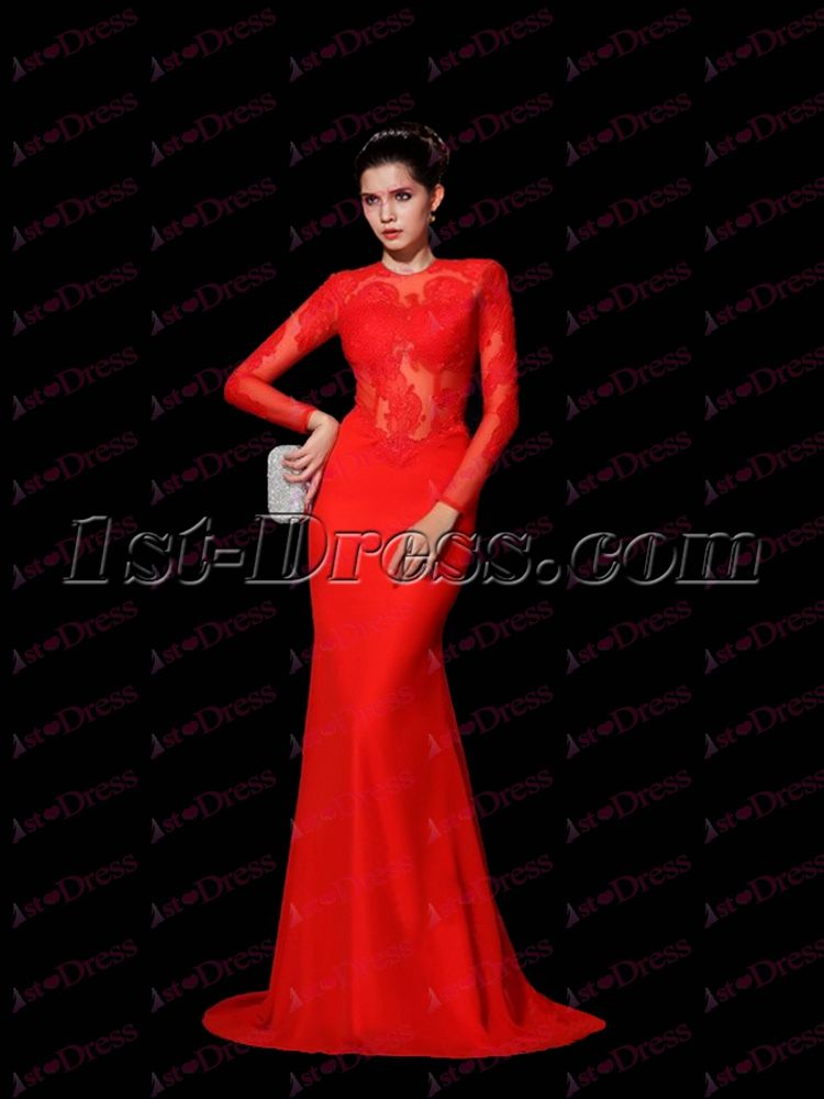 1st-dress.com Offers High Quality Sexy Red Long Sleeves Lace Celebrity Dress,Priced At Only US$178.00 (Free Shipping)