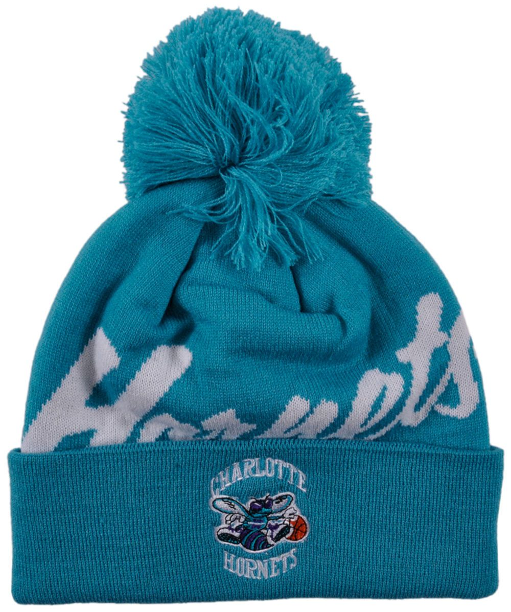 the latest e6cb7 2bdc4 Charlotte Hornets Pom Beanie Double Up Cuff Vintage Logo Mitchell Ness 2016  NBA   eBay