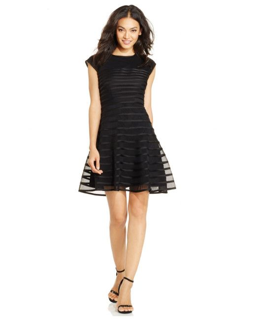 7a7161e306c6 Betsy & Adam | Black Cap-sleeve Ombre-stripe Dress | Lyst | Betsy ...