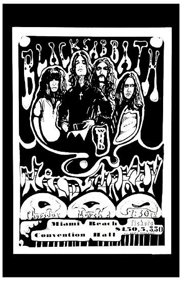 Ozzy osbourne black sabbath at miami beach convention hall concert poster 1972