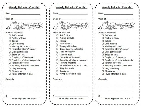 Print this Weekly Behavior Checklist for students. Balance your ...