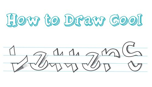 How To Draw Cool 3D Letters Wrapped Around Over And Under Notebook Paper Lines