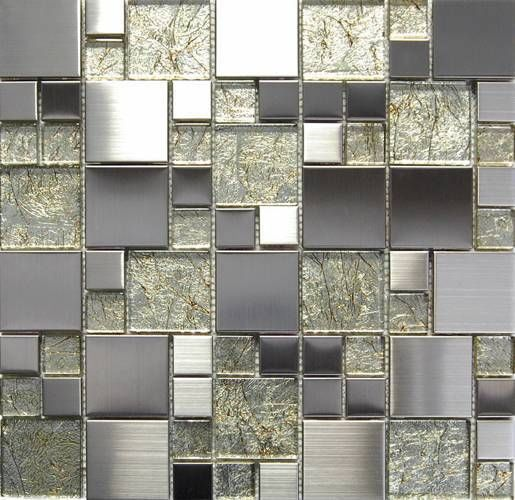 Metallic Foil Glass Mix Stainless Steel Mosaic Tile Kitchen