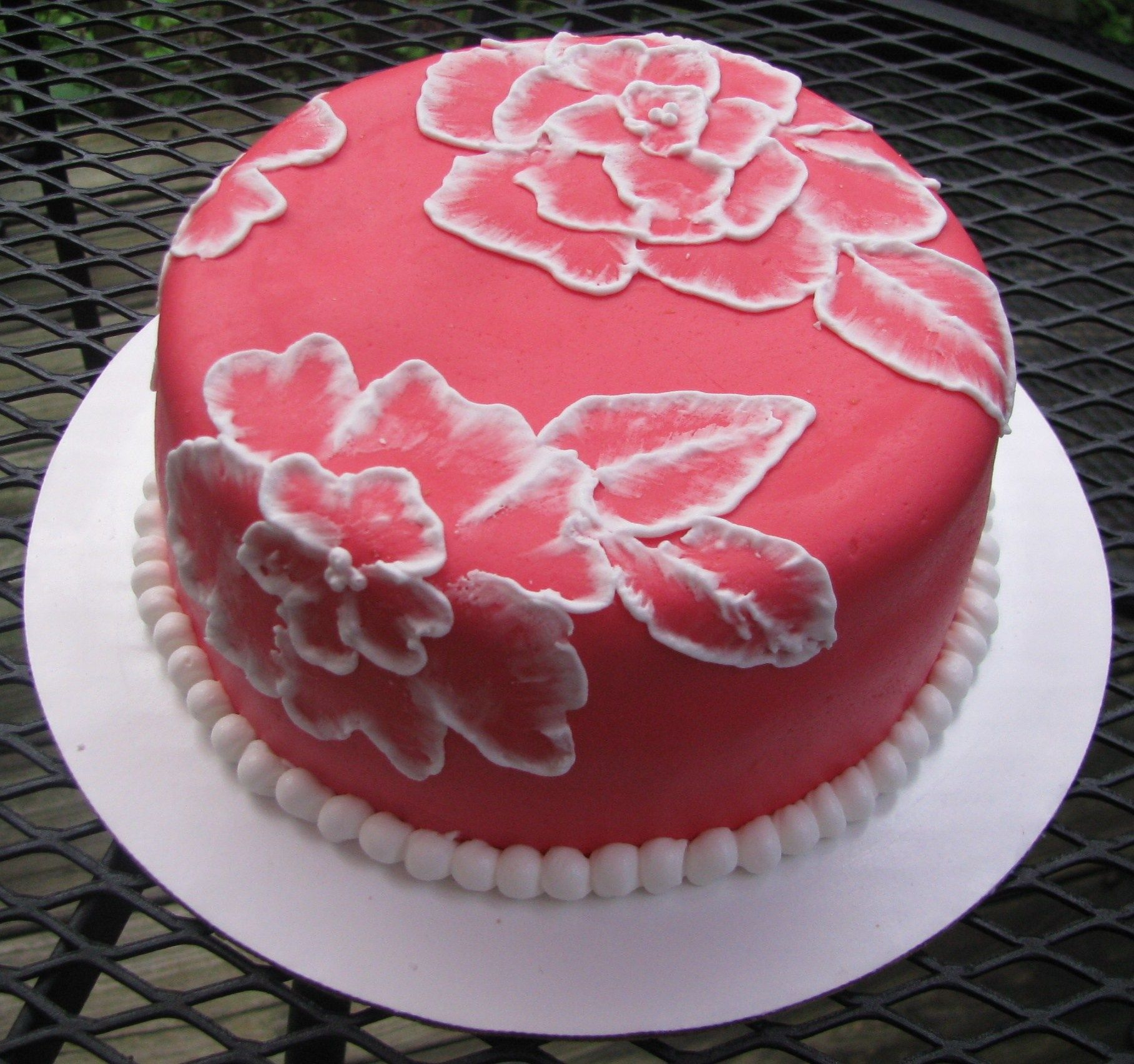 red fondant and brush embroidery cake welcome home cake for my cake